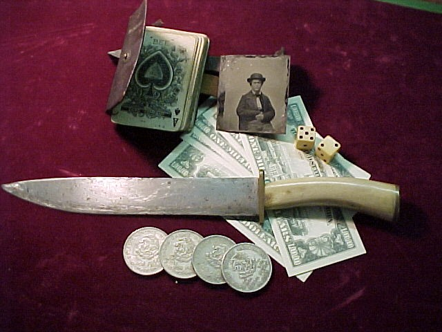 "19th Century Bowie Knife  13"" inches w/ Antler Grip"