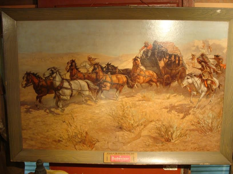 "1950 Painting - ""The Attack on the Overland Stage by Apache Indians"""