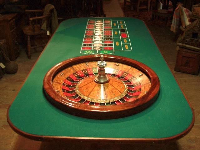 19th Century Roulette Wheel and Table