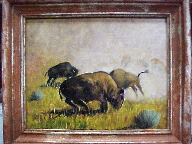 "Original Oil ""Buffalo Play"" by Carl G. Bray 8""x9"""