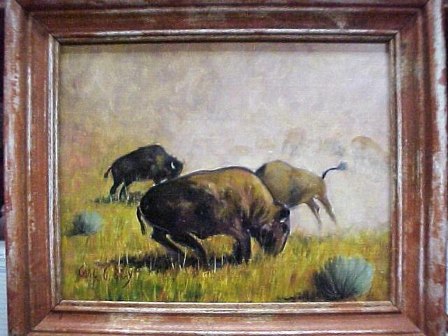 "Original Oil ""Buffalo Play"" by Carl G. Bray 8""x9"""