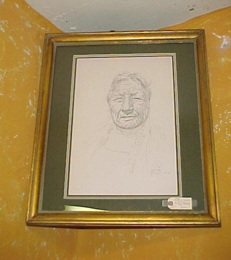 1981 Original Whipple Sketch of a Native American Elderwoman