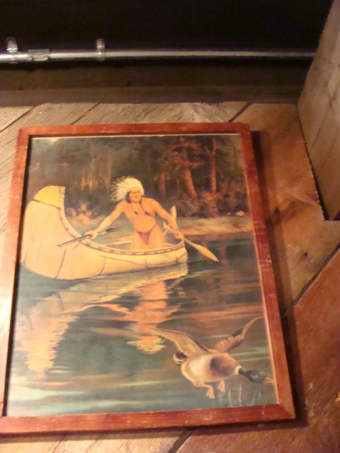 1910 Litho Print of Indian in Canoe