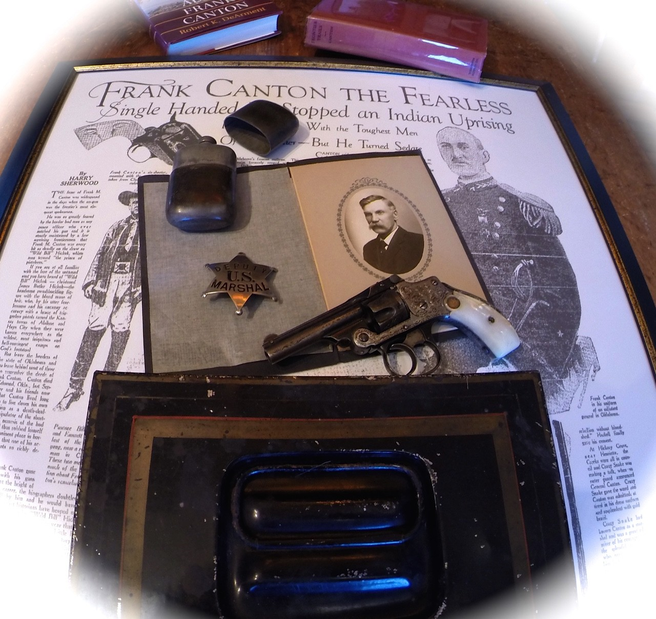 Frank Canton Historical Collection: Old West Lawman Montana, Wyoming, Colorado, Alaskan Gold Rush / Smith & Wesson Pearl Grip Revolver, Badge, Flask, Cash Box and Photo