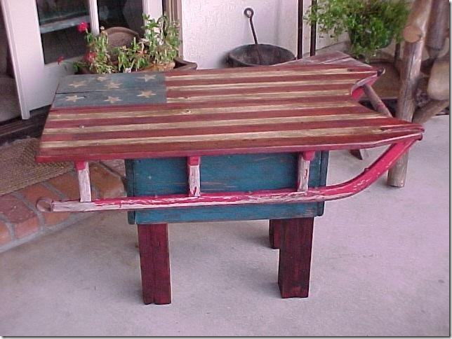 19th Century Antique Sled converted into a side Table / Folk Art American Flag