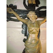 1850's Victorian Carved Wooden European Crucifix