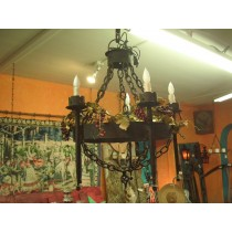1920's Hand Forged Chandelier and Chain
