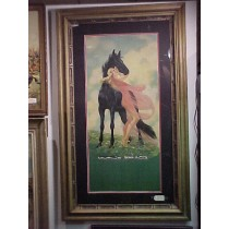 1930 Original Print of Black Stallion with Girl