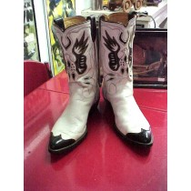 1940's-50's Cowboy Boots w/ inlaid Eagles /White and Black Belonged to Country Singer Marty Stewart