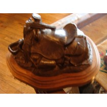 Small Detailed Bronze Saddle by the famous Bill Nebeker Signed and Numbered #4 / 50