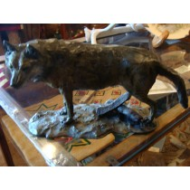 "Wolf Bronze ""No Trespassing"" by the Famous Montana Artist Ken Bjorge  Signed and Numbered #2 of 25"
