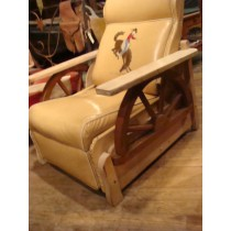 1950 Cowboy Chic Recliner with Bronco Buster Motif sewn into the back/ Wagon Wheels below Arms