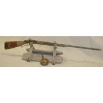 19th Century Indian War Period Kentucky Long Rifle Musket Shotgun with rawhide wrapped Grip and forearm with Tacked Stock,