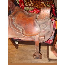 Vaquero Saddle made from Buffalo Hide in 1850 s. High Pommel, Square Skirt and tacked and tooled