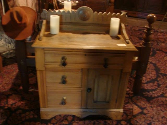 19th Century Pine Basin Stand with drawers and cabinet area