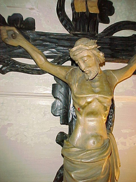 1850's Victorian Carved Wooden European Crucifix