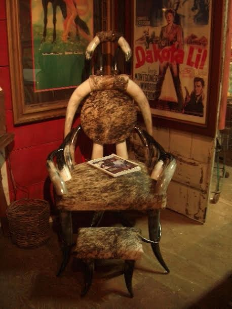Genuine Texas Steer-horn Chair with Stool
