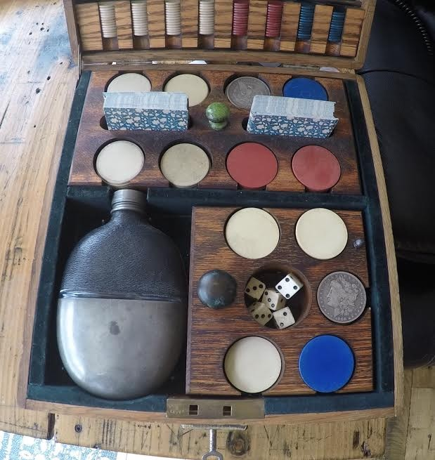 19th Century genuine Old West Gambler's Personal Travelling Gambling Box