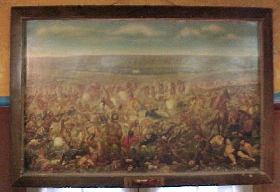 """1950 Original Budweiser Cardboard painting (with frame) of """"Custer's Last Fight"""""""