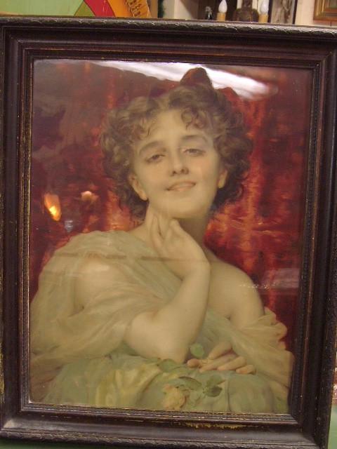 19th Century Litho Victorian Saloon Girl painting   SOLD