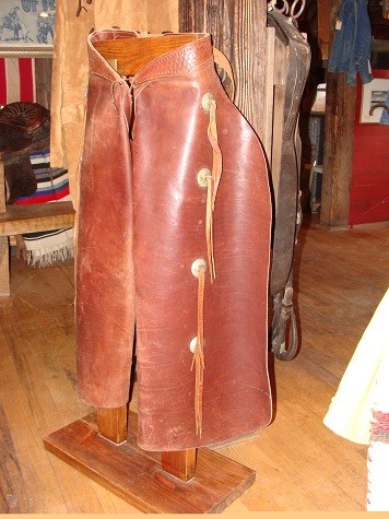 Brown Leather Batwing Chaps