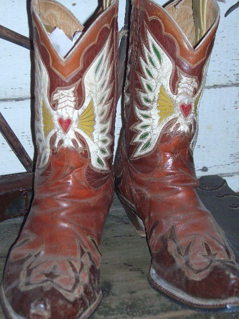 1930's Handmade Custom Cowboy Boots with Eagles Inlaid with a Red Heart