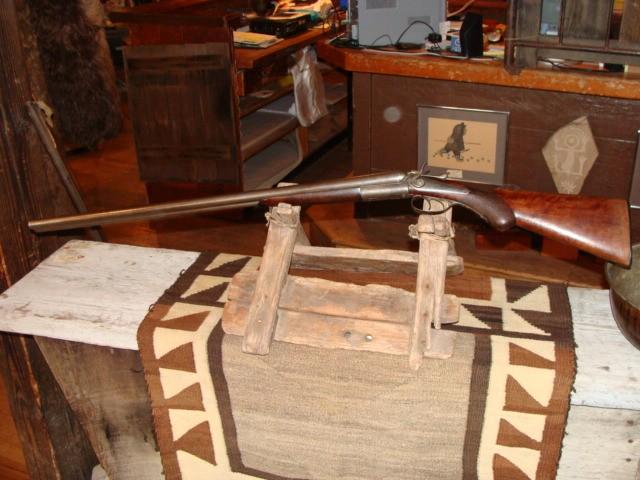 19th Century G.E. Lewis Double Barrel 12 Gauge Shotgun with Hammers