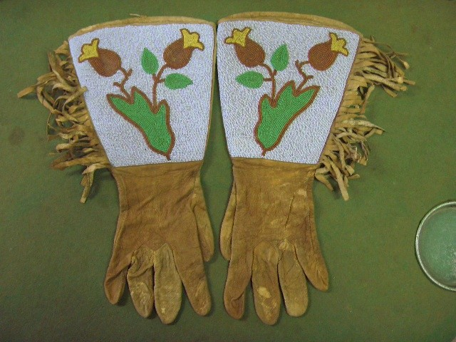 19th Century Plains Indians Beaded Gauntlets