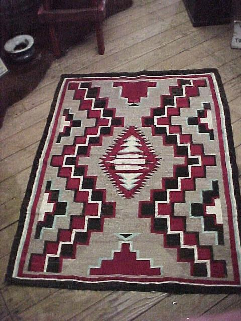 "1940 Navajo Rug titled ""3 Feathers"""