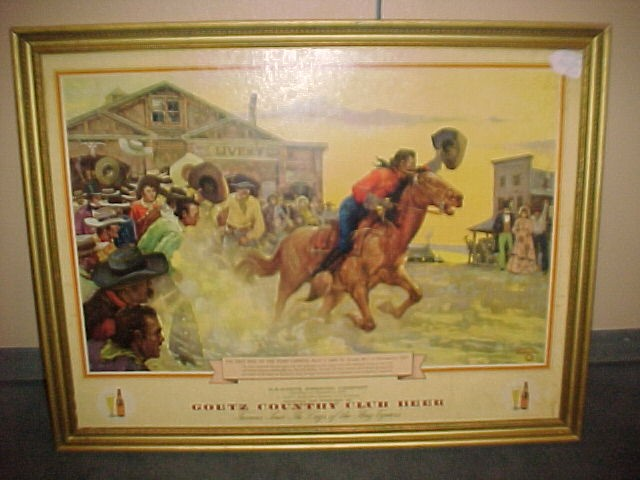 """1930-40s Goetz Country Club Beer Advertising Full Color Print """"Pony Express"""""""