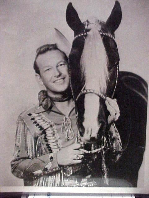 8x10 Black & White Photo of Rex Allen The AZ Cowboy with his horse Koko