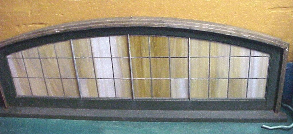 1910 Antique Amber Stain-Glass Window