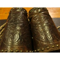 Leather hand carved studded Cowboy Cuffs