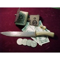 "19th Century13"" Bowie Knife with Antler grip"