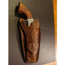 "Holster Hand Carved Leather from early 1900 s with the Initial ""R."""