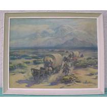 1930 Print - Westward Ho Covered Wagon Train