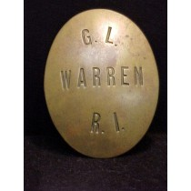 19th Century Brass Constable Badge Warren Rhode Island