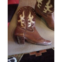 1930's Vintage Collectible Inlaid Cowgirl Boots