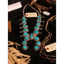 1930s Navajo Squash BlossomNecklace 17 LgTuq