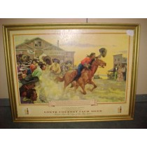 "1930-40s Goetz Country Club Beer Advertising Full Color Print ""Pony Express"""