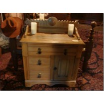 1900's Pine Basin Stand with 3 Drawers and Storage Area